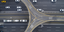 Drone image, aerial image of intersection